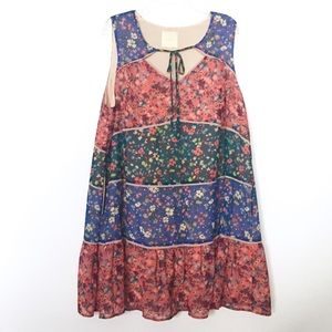 ModCloth Patchwork Ruffle Hem Tie Front Dress